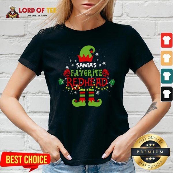 Funny Santa's Favorite Redhead Christmas V-neck Design By Lordoftee.com