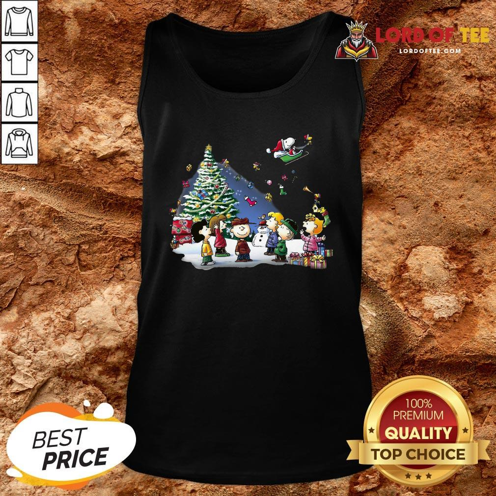 Funny The Peanuts Characters Merry Christmas Tank Top Design By Lordoftee.com