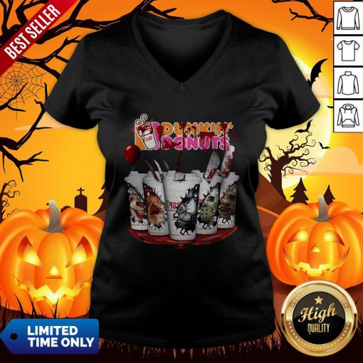 Horror Movie Characters Cup Dunkin' Donuts V-neck