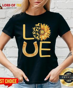 Horse Sunflower Love Gold V-neck