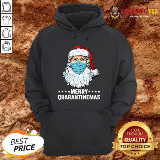 Merry Quarantine Christmas Santa Wearing Mask Funny Gift T-Hoodie