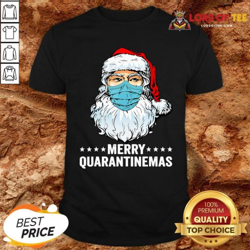 Merry Quarantine Christmas Santa Wearing Mask Funny Gift T-Shirt