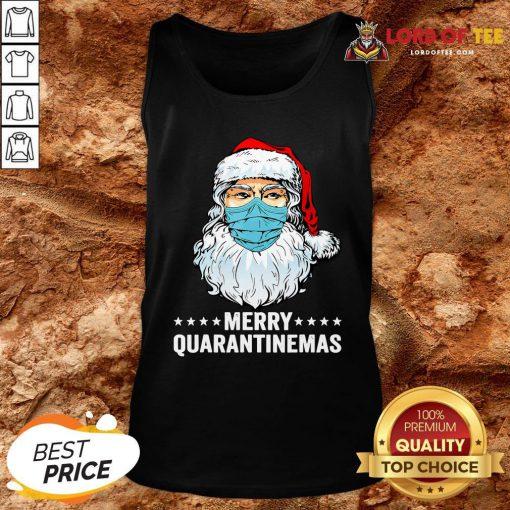 Merry Quarantine Christmas Santa Wearing Mask Funny Gift T-Tank Top