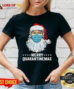 Merry Quarantine Christmas Santa Wearing Mask Funny Gift T-V-neck
