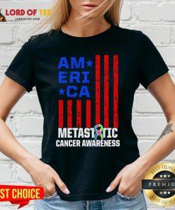 Metastatic Breast Cancer Awareness Learning US Warrior V-neck