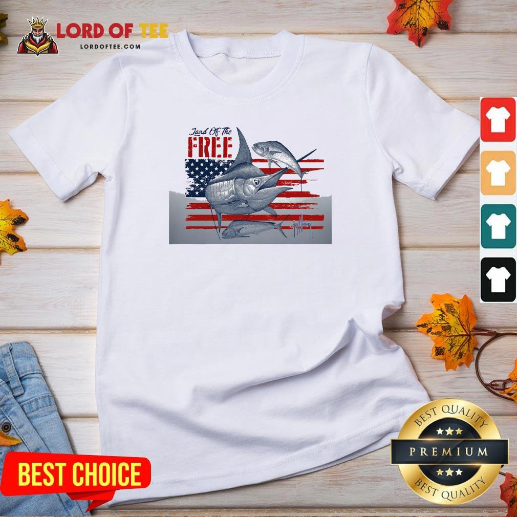 Top American Flag Land Of The Free Fish V-neck Design By Lordoftee.com