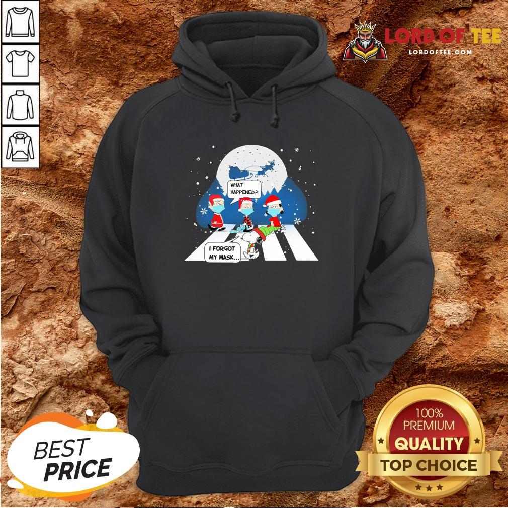Top Snoopy And Charlie Brown Abbey Road What Happened I Forgot My Mask Christmas Hoodie Design By Lordoftee.com