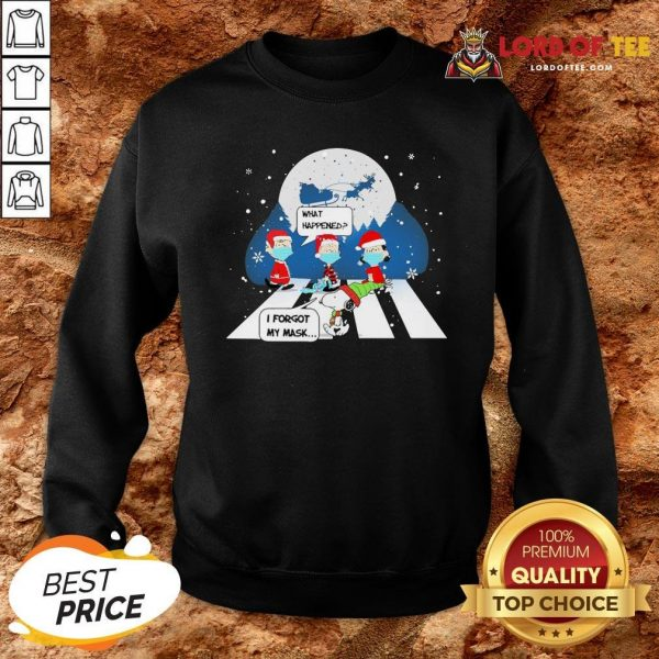 Top Snoopy And Charlie Brown Abbey Road What Happened I Forgot My Mask Christmas Sweatshirt Design By Lordoftee.com