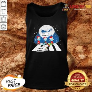 Top Snoopy And Charlie Brown Abbey Road What Happened I Forgot My Mask Christmas Tank Top Design By Lordoftee.com