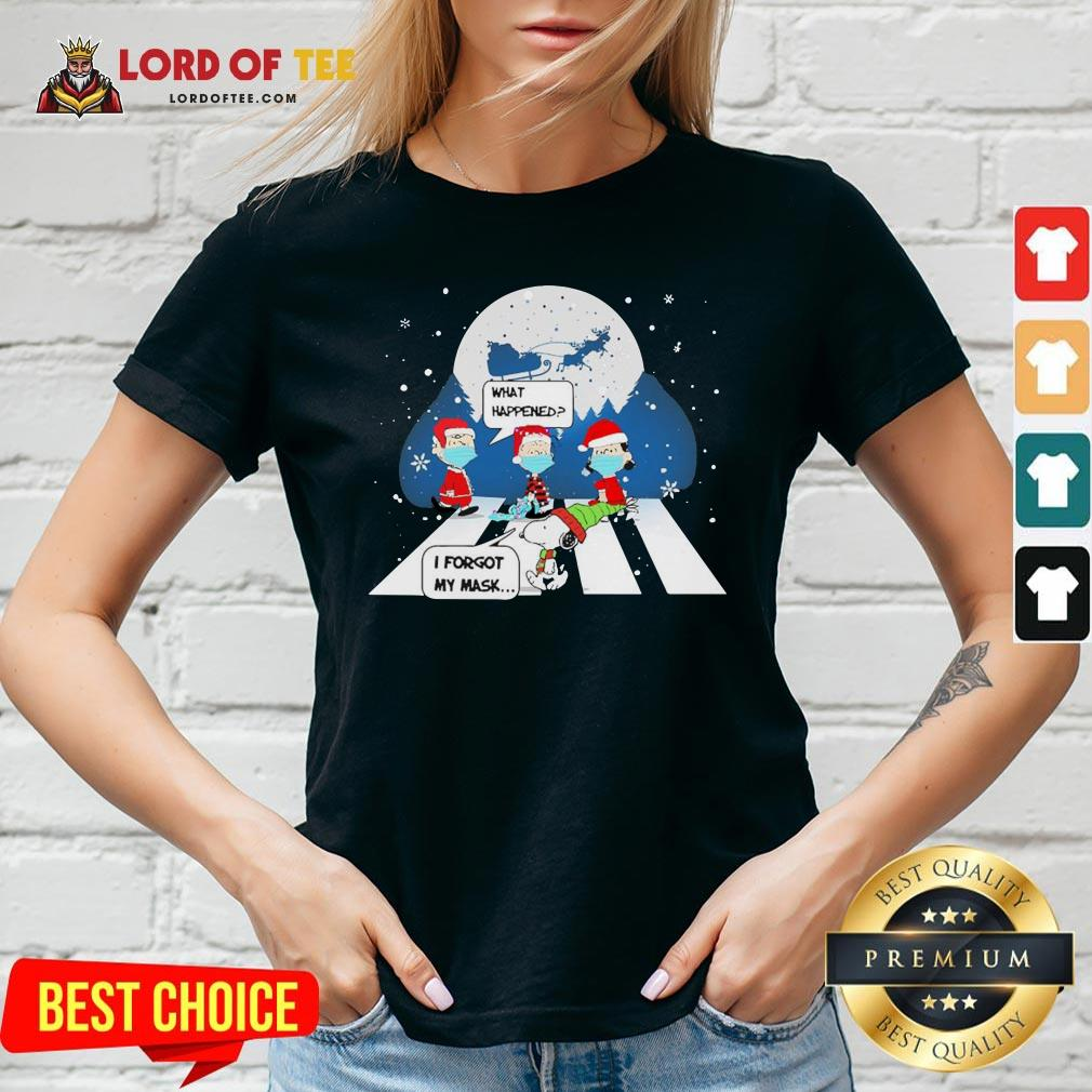 Top Snoopy And Charlie Brown Abbey Road What Happened I Forgot My Mask Christmas V-neck Design By Lordoftee.com