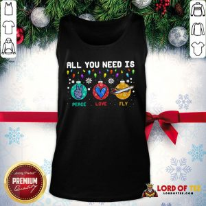 All You Need Is Peace Love Fly Merry Christmas Tank Top