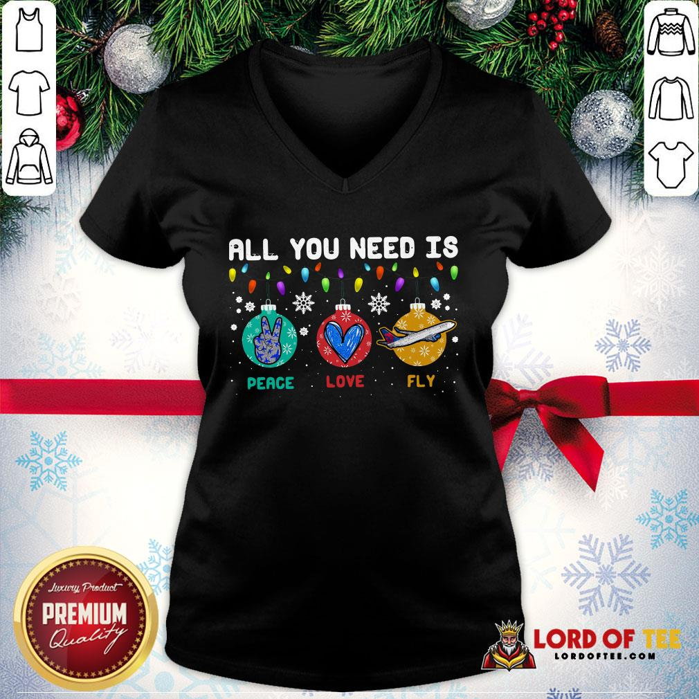All You Need Is Peace Love Fly Merry Christmas V-neck