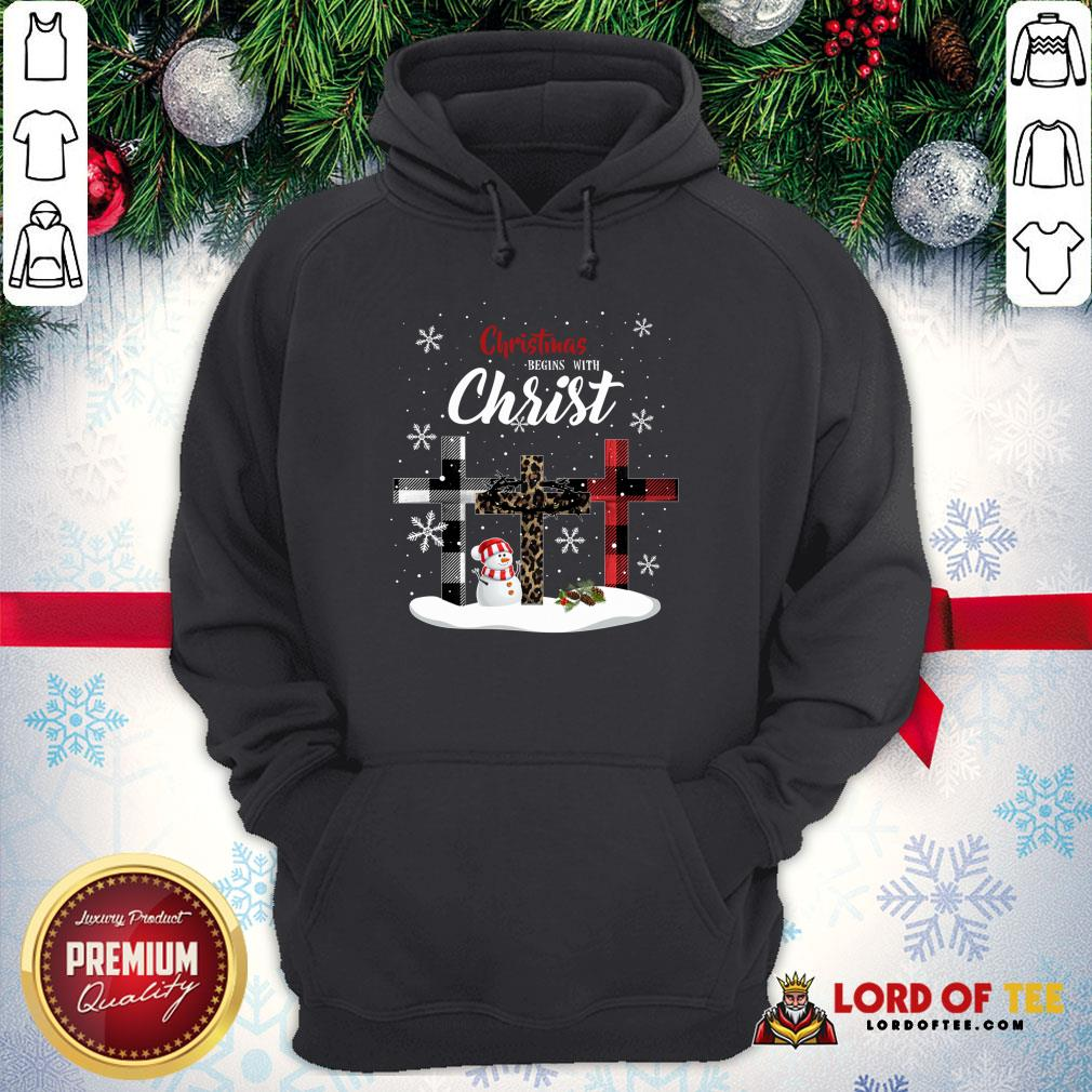 Awesome Christmas Begins With Christ Sowman Jesus Christmas Ugly Hoodie