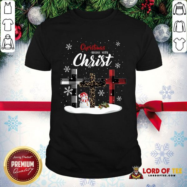 Awesome Christmas Begins With Christ Sowman Jesus Christmas Ugly Shirt