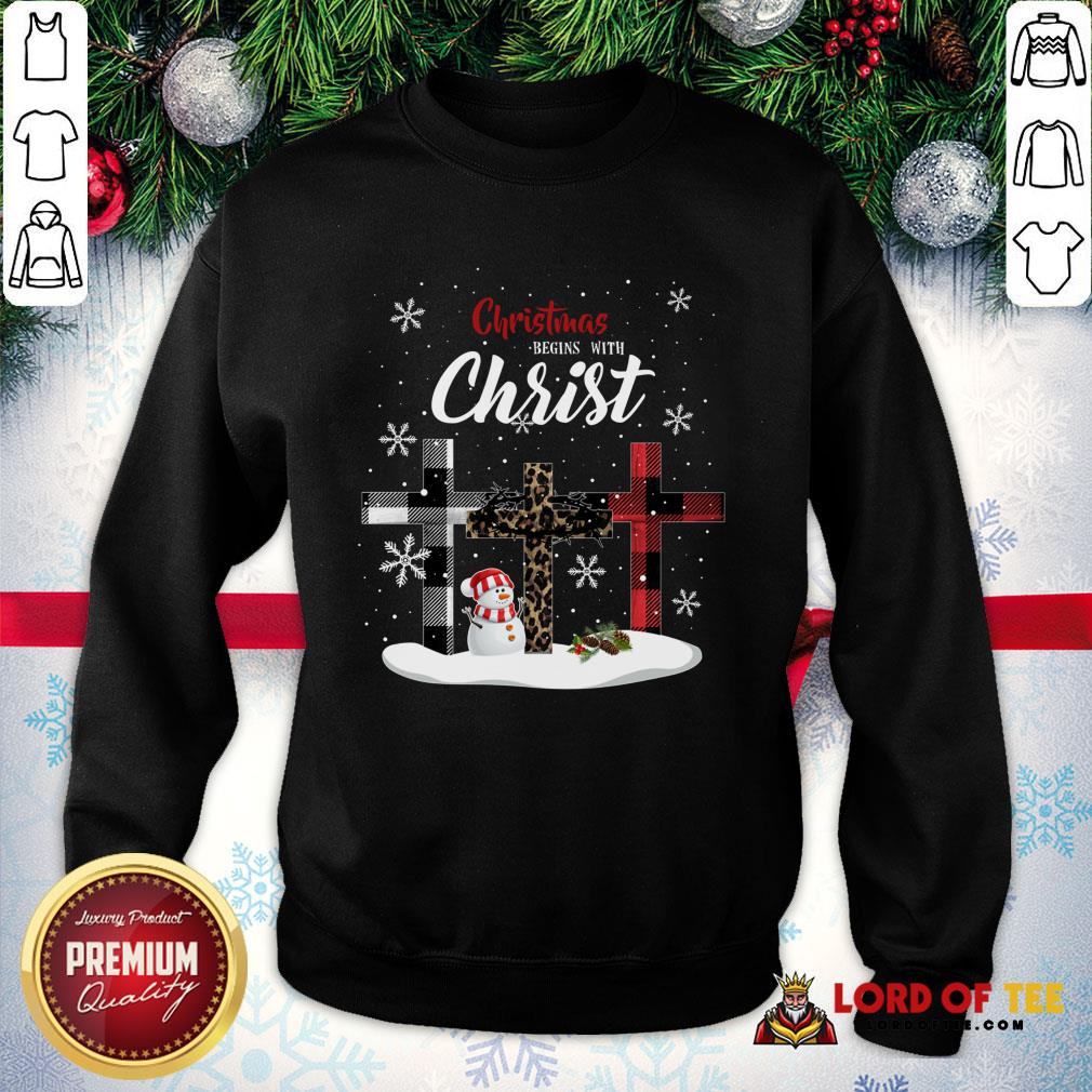 Awesome Christmas Begins With Christ Sowman Jesus Christmas Ugly SweatShirt