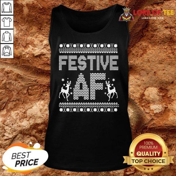Awesome Festive AF Ugly Christmas Tank Top