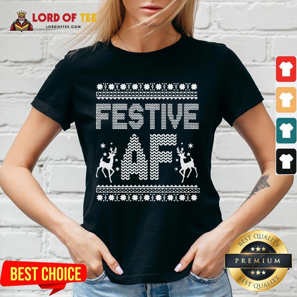 Awesome Festive AF Ugly Christmas V-neck