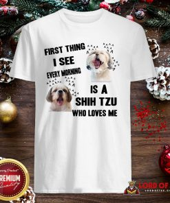 Awesome First Thing I See Every Morning Is A Shih Tzu Who Loves Me Shirt