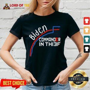 Awesome Joe Biden Commander In Thief Benford's Law Trump Funny V-neck