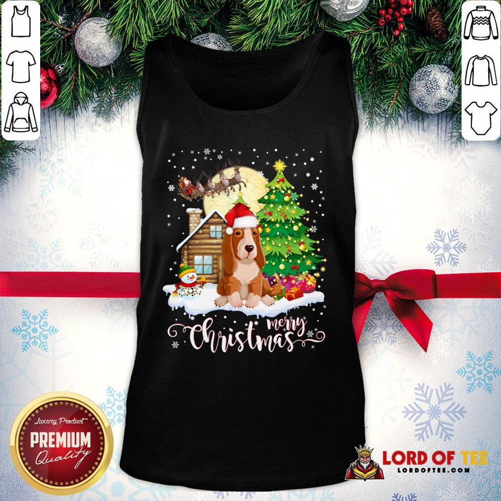 Basset Hound Merry Christmas Tank Top