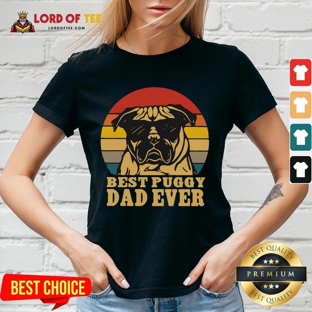 Cute Best Puggy Dad Ever Vintage V-neck
