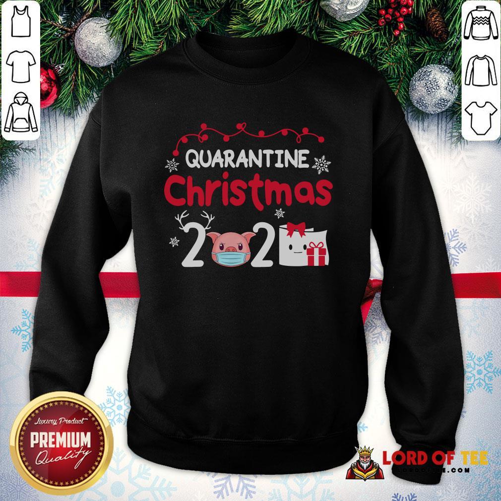 Cute Quarantine Christmas 2020 Pig Mask Toilet Paper SweatShirt