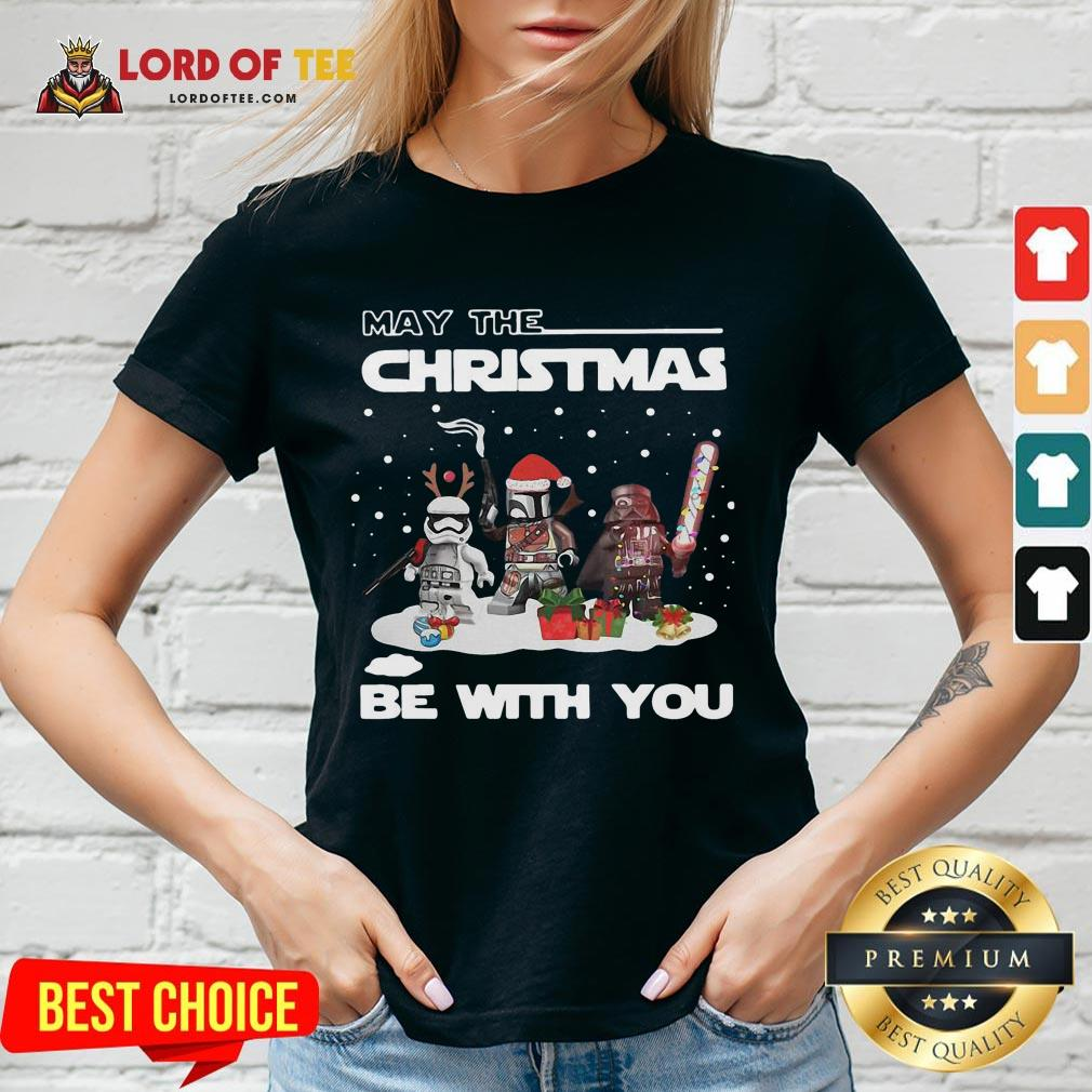 Cute Star Wars Character May The Christmas Be With You Christmas V-neck
