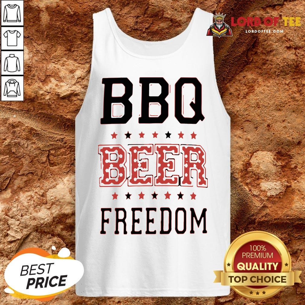 Funny BBQ Beer Freedom Flag US Tank Top