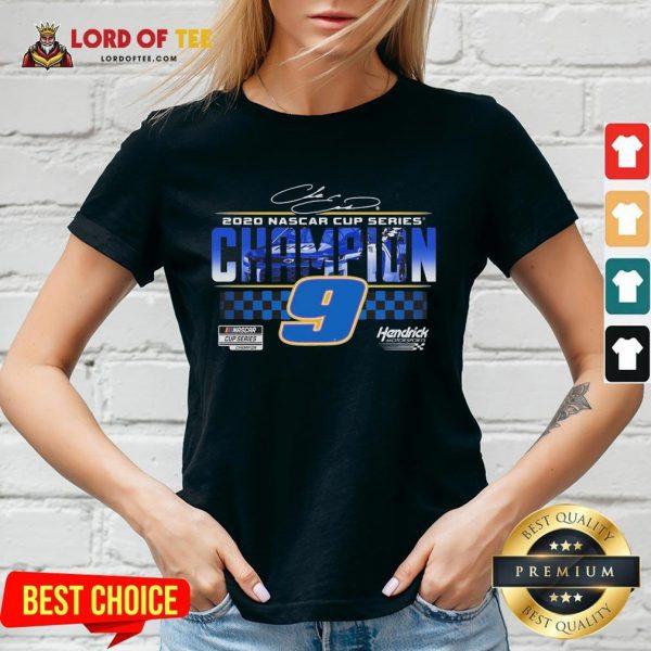 Funny Chase Elliott 9 Hendrick Motorsports 2020 Nascar Cup Series Champion Signature V-neck