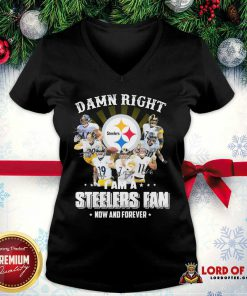 Damn Right I Am A Pittsburgh Steelers Fan Now And Forever Signature V-neck