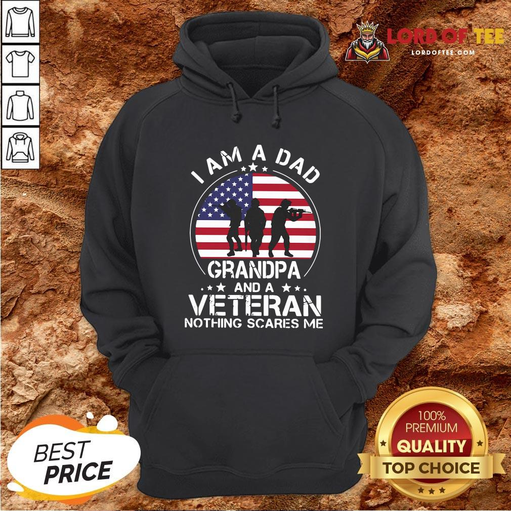 Good I Am A Dad Grandpa And A Veteran Nothing Scared Me American Flag Hoodie