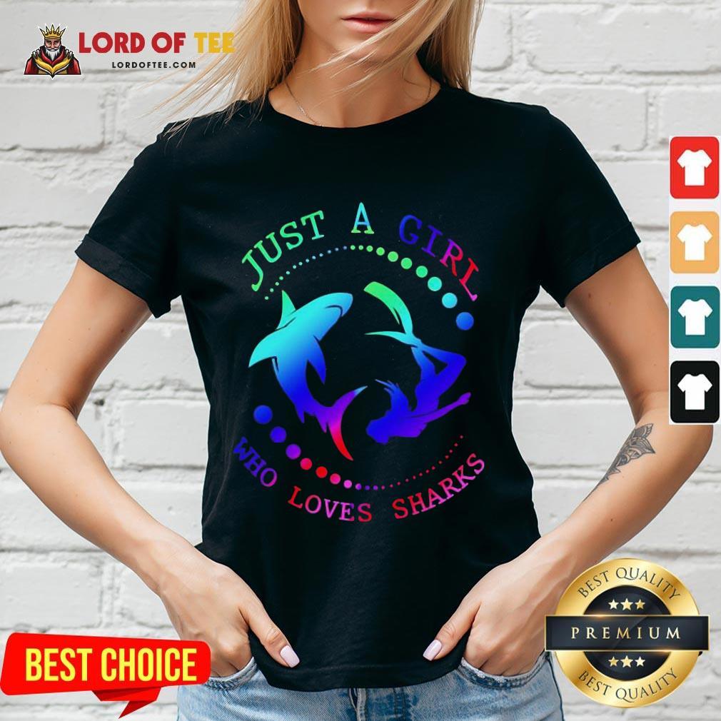 Good Just A Girl Who Loves Sharks V-neck
