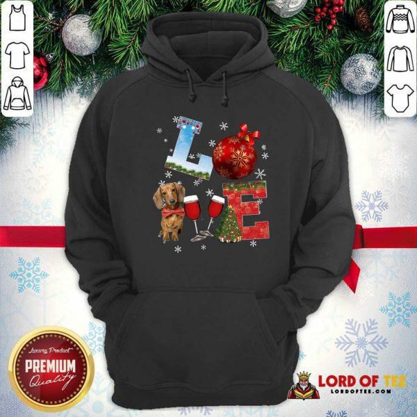 Good Love Dachshund Wine Ball Merry Christmas Hoodie
