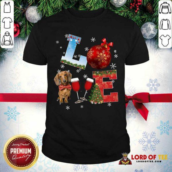 Good Love Dachshund Wine Ball Merry Christmas Shirt