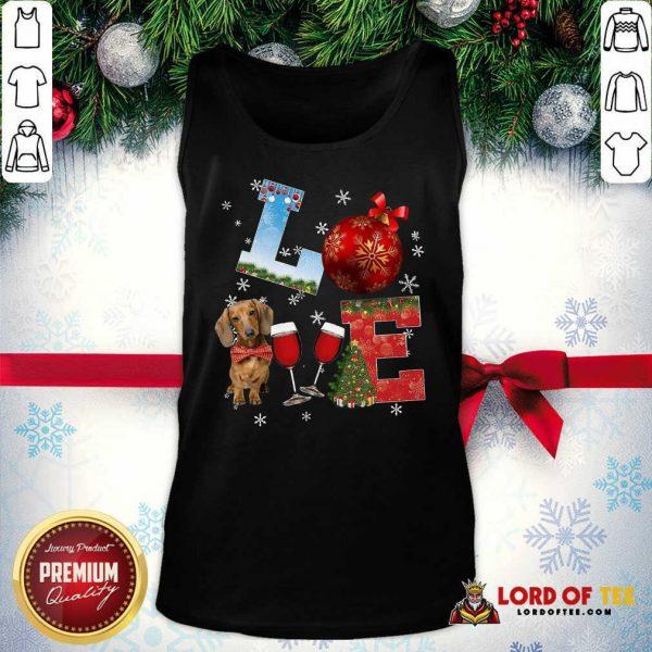 Good Love Dachshund Wine Ball Merry Christmas Tank Top