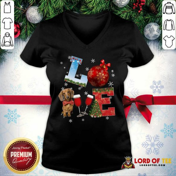 Good Love Dachshund Wine Ball Merry Christmas V-neck