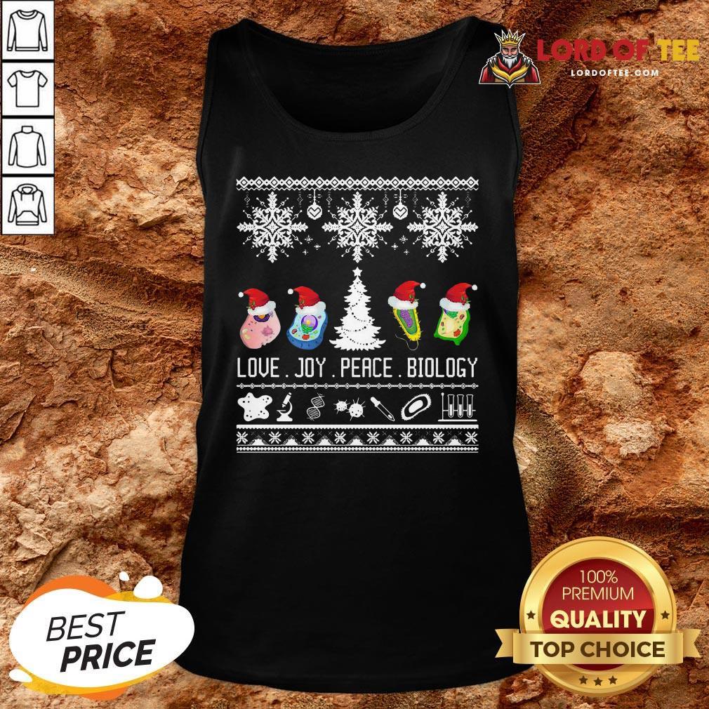 Good Love Joy Peace Biology Ugly Christmas Tank Top
