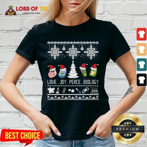 Good Love Joy Peace Biology Ugly Christmas V-neck