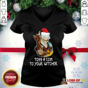 Hot Geralt Toss A Coin To Your Witcher Christmas V-neck