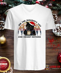 Hot Santa Black Cat On The Naughty List And I Regret Nothing Vintage V-neck