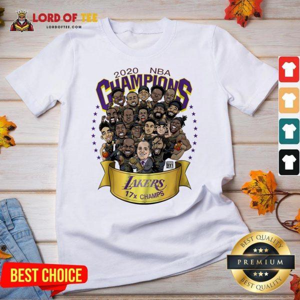 Nice 2020 NBA Champions Los Angeles Lakers 17 Champs Cartoon V-neck