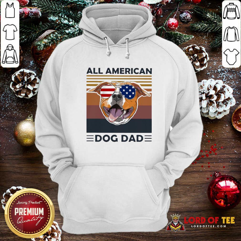 All American Pug Dog Dad Vintage Hoodie