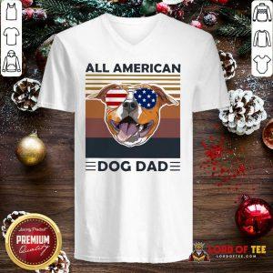 All American Pug Dog Dad Vintage V-neck