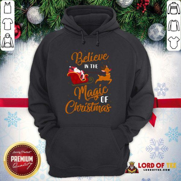 Nice Believe In The Magic Of Christmas Santa Claus Riding Reindeer Hoodie