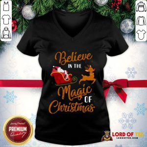 Nice Believe In The Magic Of Christmas Santa Claus Riding Reindeer V-neck
