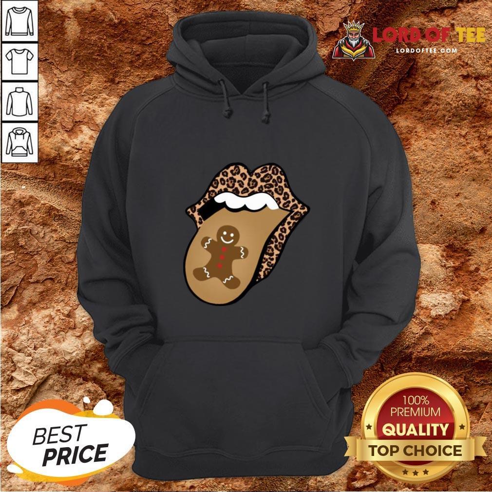 Nice Christmas Mouth Tongue Lips Gingerbread Cookie Man Christmas Hoodie