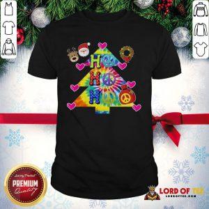 Nice Ho Ho Ho Peace Symbols Santa Reindeer Christmas Tree Shirt