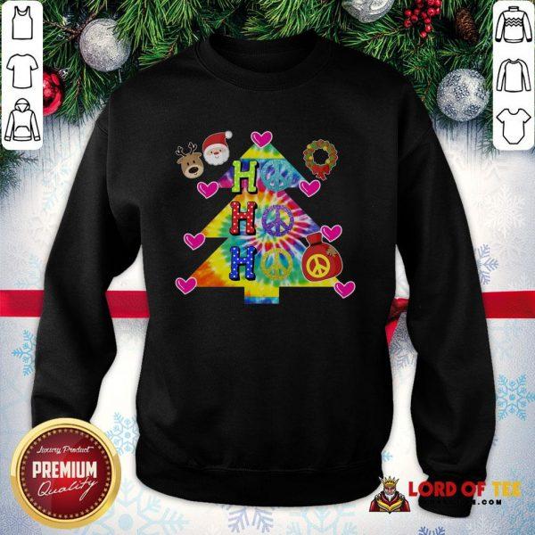 Nice Ho Ho Ho Peace Symbols Santa Reindeer Christmas Tree SweatShirt