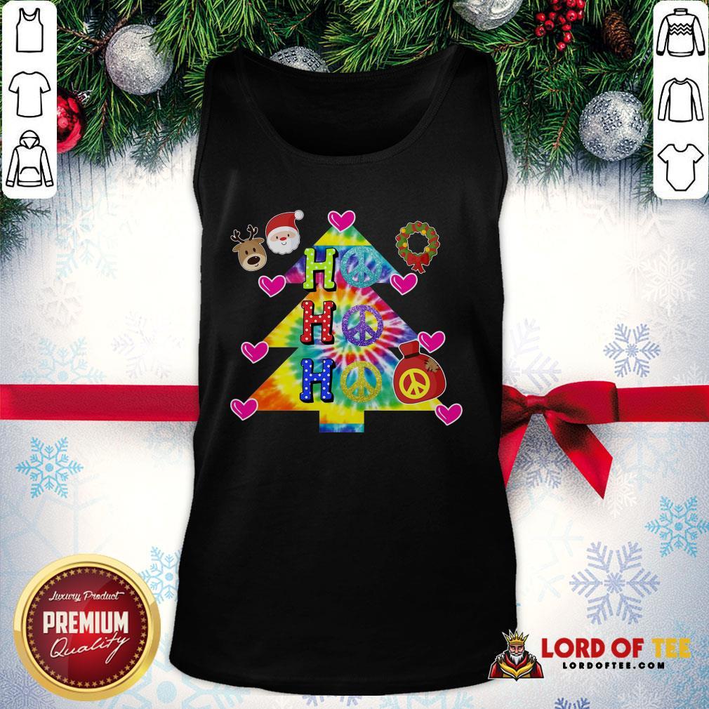 Nice Ho Ho Ho Peace Symbols Santa Reindeer Christmas Tree Tank Top