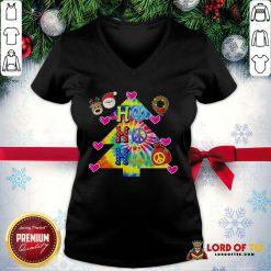 Nice Ho Ho Ho Peace Symbols Santa Reindeer Christmas Tree V-neck